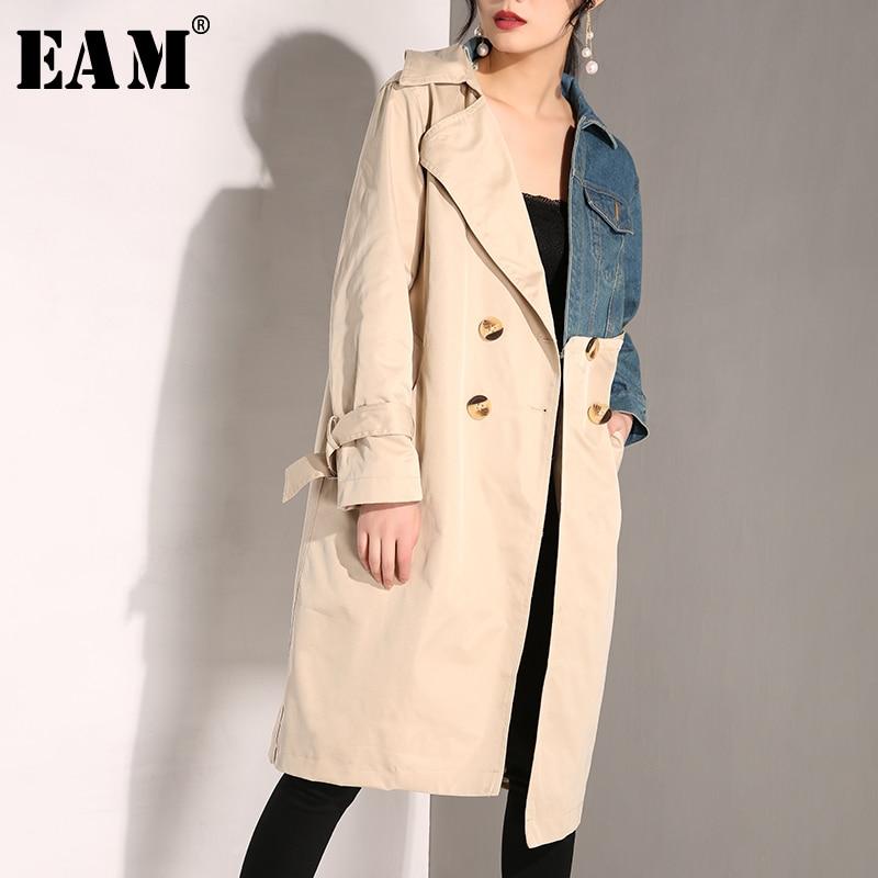[EAM] 2019 New Autumn Winter Lapel Long Sleeve Khaki Denim Split Joint Long Bandage Windbreaker Women Trench Fashion Tide JH638
