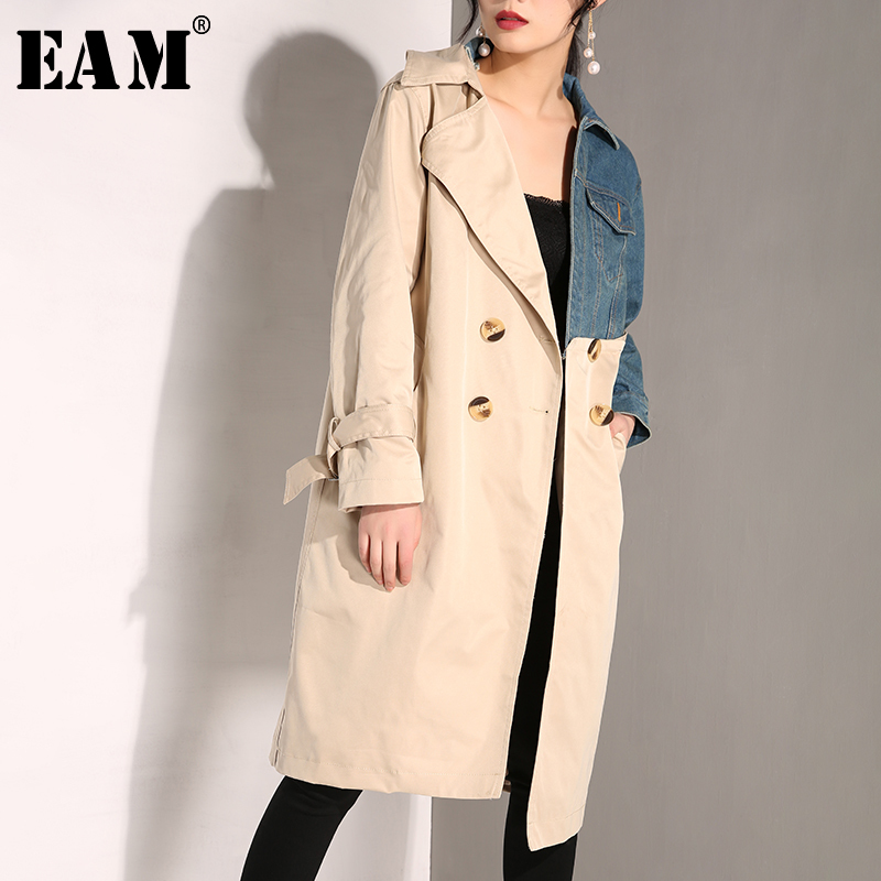[EAM] 2019 New Spring Summer Lapel Long Sleeve Khaki Denim Split Joint Long Bandage Windbreaker Women   Trench   Fashion Tide JH638