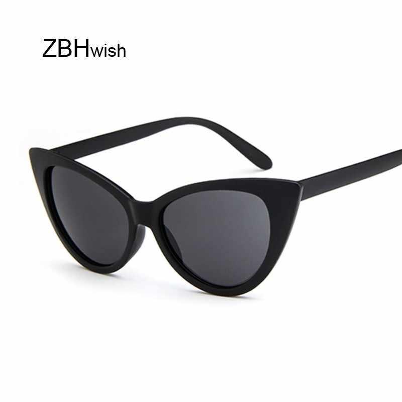50677ce875516 Mirrored Cat Eye Sunglasses Women Vintage Brand Designer Plastic Sun  Glasses Female Retro Black Frame Eyewear