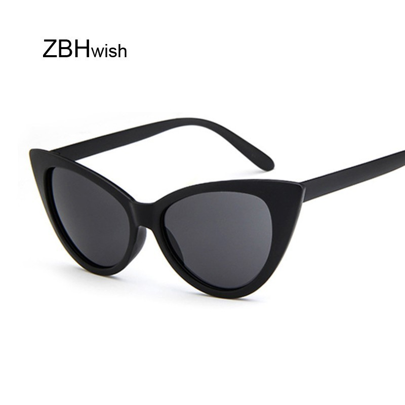 Mirrored Cat Eye Sunglasses Women Vintage Brand Designer Plastic Sun Glasses Female Retro Black Frame Eyewear Shades Ladies