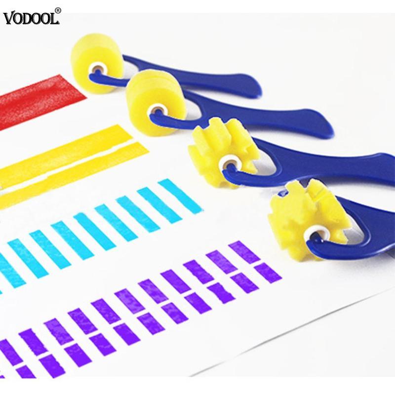 Vodool 4 Pcs Tekening Speelgoed Spons Afdichting Borstels Kleine Wiel Graffiti Tool Kleuterschool Vroege Onderwijs Briefpapier Schilderen Leveringen