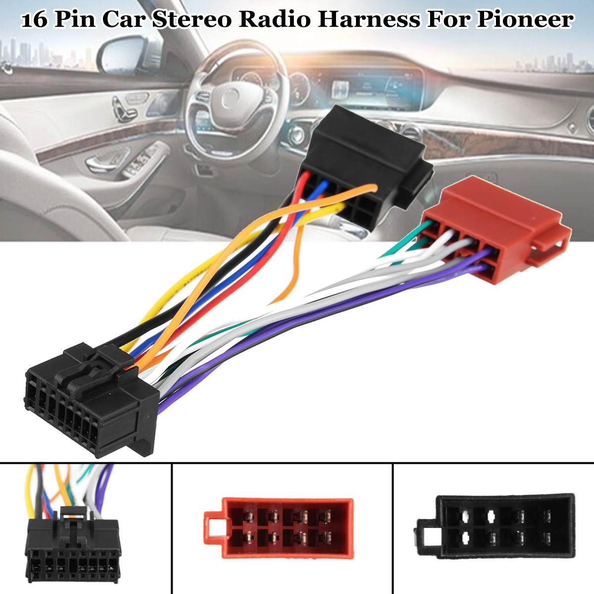 car stereo radio iso wiring harness connector 16 pin pi100 for pioneer 2003 on [ 1200 x 1200 Pixel ]