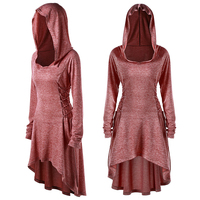Women Hooded Medieval Gothic Renaissance Dress Tops Gown Costume Cosplay Party