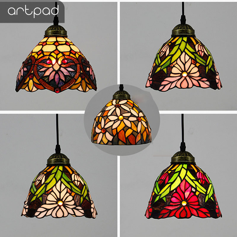 Artpad Modern Nordic Single Mosaic Pendant Lights Stained Glass Flower Lampshade Hanglamp Bedroom Living Room E27