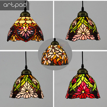 Artpad Modern Nordic Single Mosaic Pendant Lights Stained Glass Flower Lampshade Hanglamp Bedroom Living Room E27 Bulb Lighting|Pendant Lights|   -