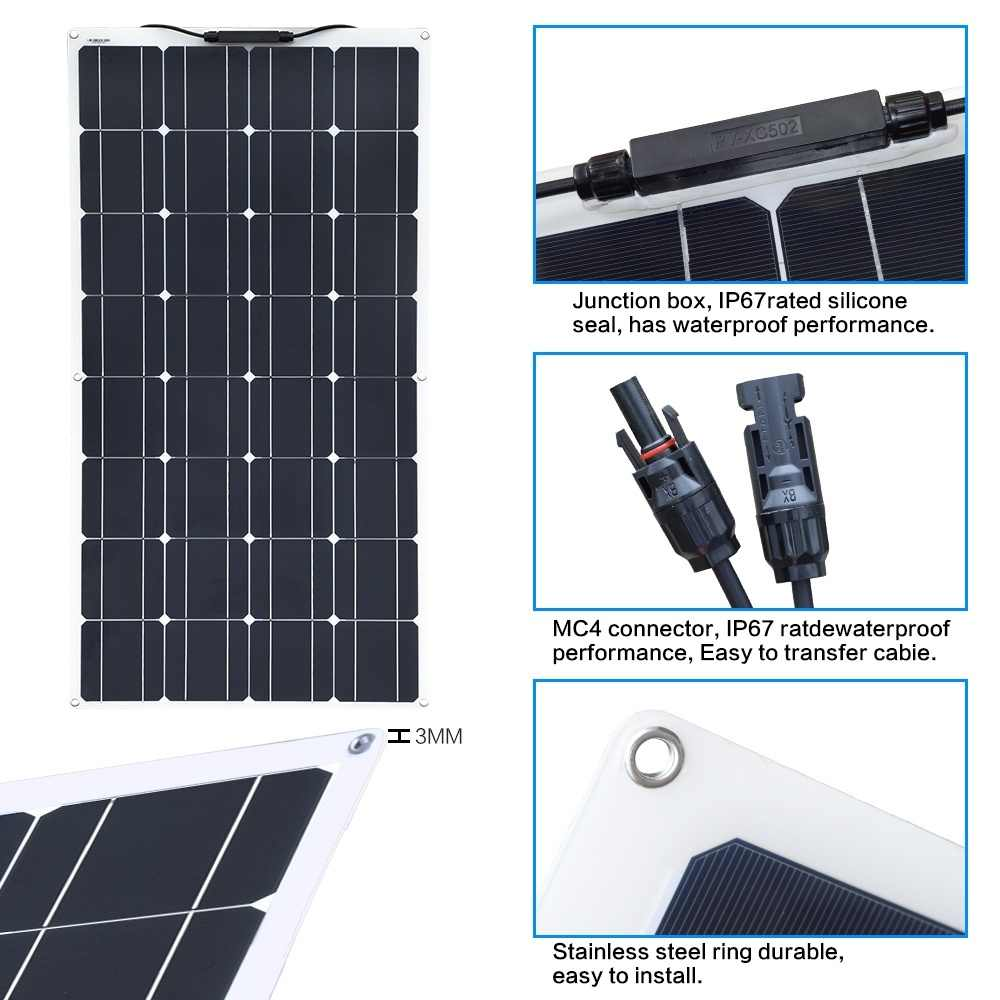 BOGUANG 100w flexible solar panel  10A MPPT Controller regulator for Caravan RV Boat Yacht Car Home Roof 12v Battery Charger