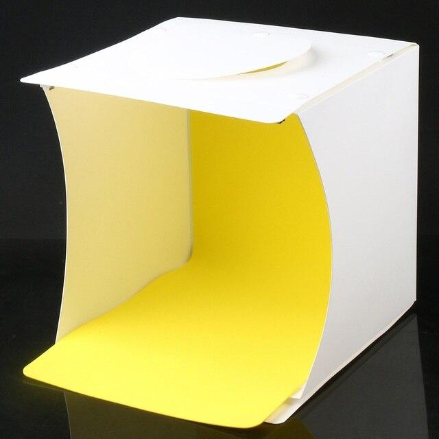 Chats Mini boîte de Studio Photo, 8.9X9X9.5 pouces Kit de tente de lumière de photographie Portable, Softbox déclairage pliant blanc avec 40 Led