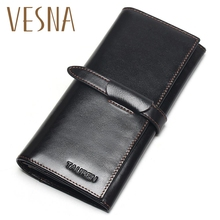 100% Genuine Leather Cowhide High Quality Vintage Solid Color Men Long Wallet Coin Purse Vintage Designer Male Carteira Wallets difenise genuine nappa first cowhide leather men s wallets vintage solid short wallets men purse classic black and coffee color