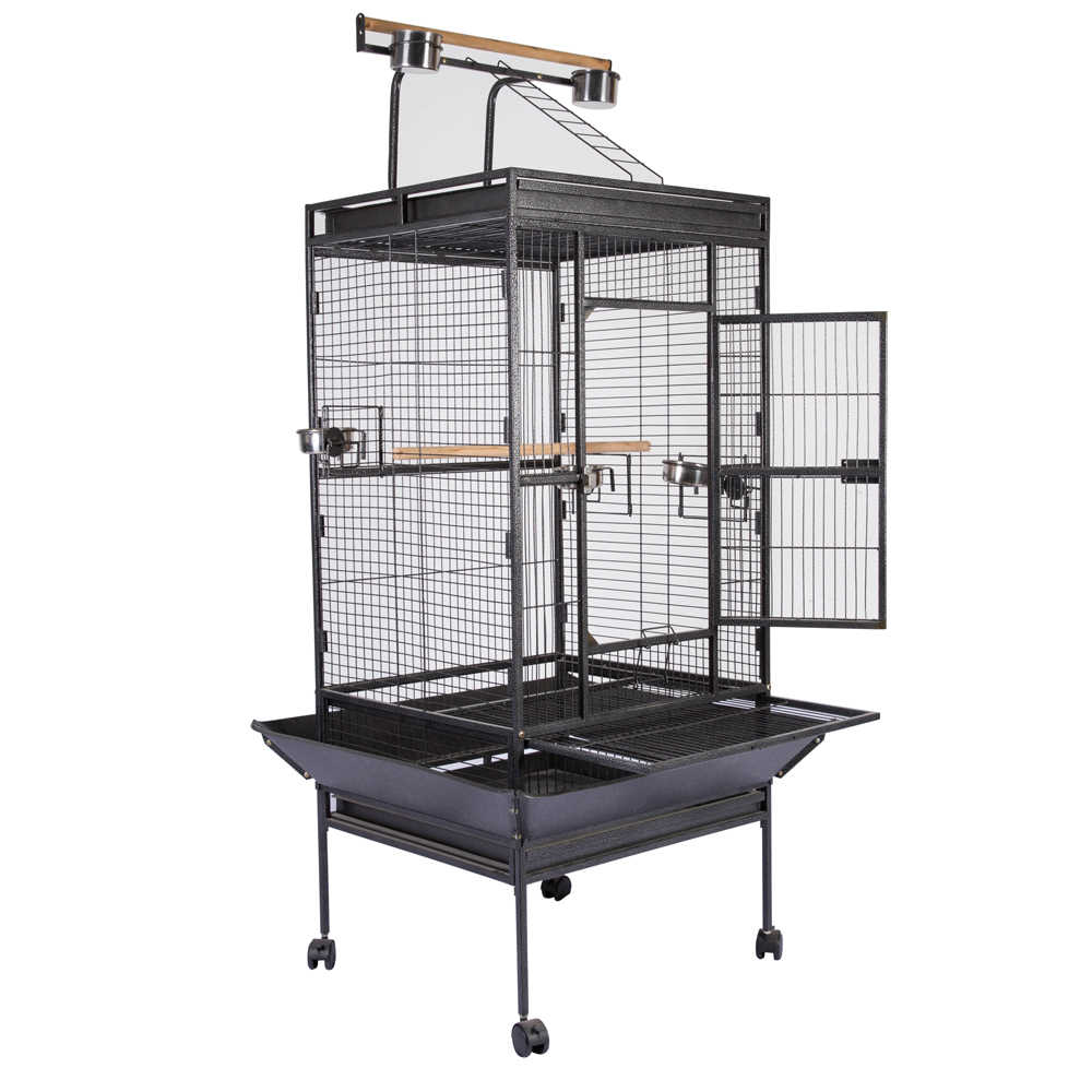"63"" Bird Cage Large Play Top Parrot Finch Cage Macaw Cockatoo Pet Supply Black"