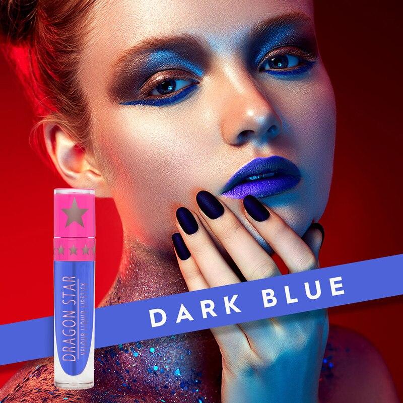 Матовая бархатная фиолетовая, черная, белая Губная помада для укуса, 15 цветов, жидкий блеск для губ, водостойкая Звездная синяя глазурь для г...