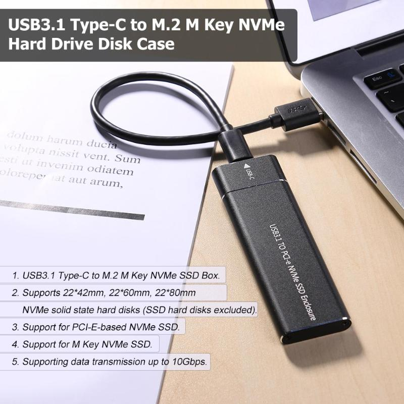 Image 3 - PCIE SSD USB3.1 Type C to M.2 M Key NVMe PCI E Hard Disk Drive Housing Case 10Gbps 2280 HDD Enclosure Mobile Box Solid State Box-in HDD Enclosure from Computer & Office