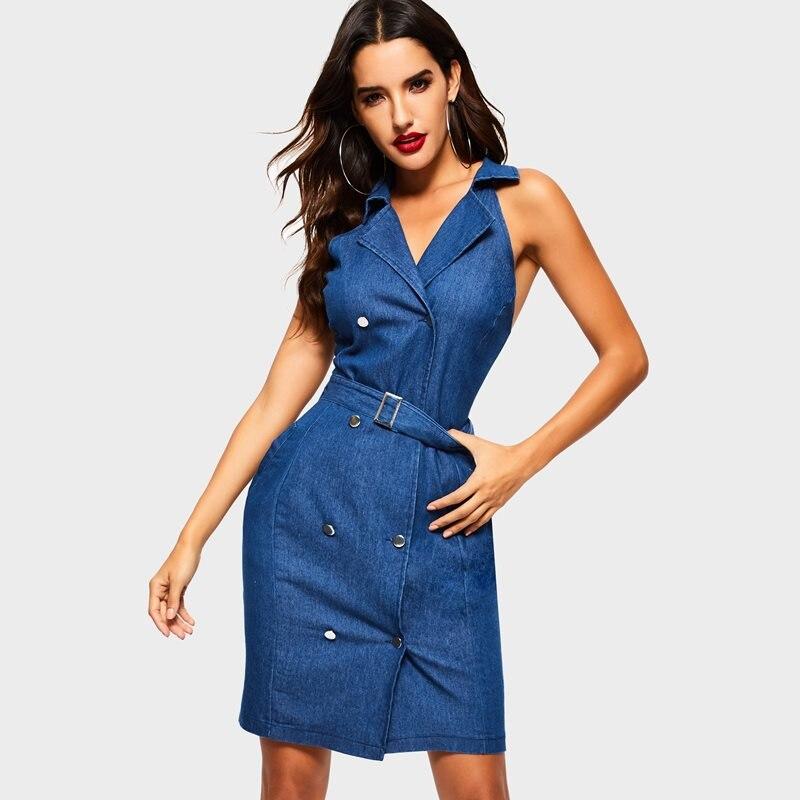Robes Mode D'été Femelle Bleu Femmes Denim Sexy Bouton Club Haute Mini Taille Solide Moulante Élégant Dames Ol Décontracté ZxUwU5q1