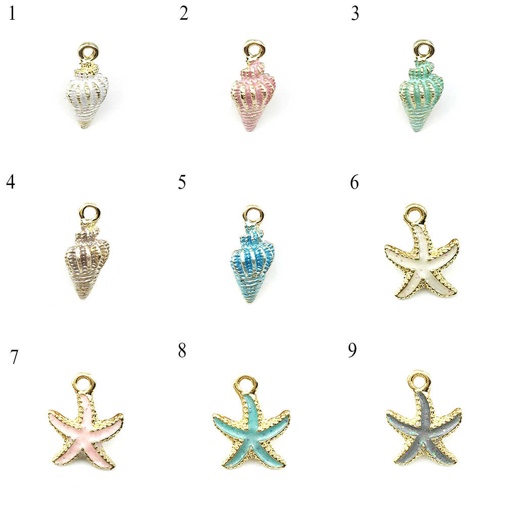 Trendy Simple Starfish Conch Sea Shell Pendant DIY Charms For Jewelry Making Quality Alloy Gold Blue Accessories For Women Gifts