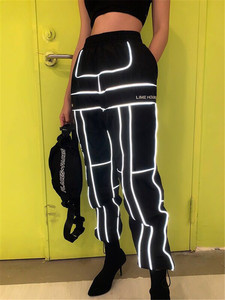 Image 1 - 2019夏ドロップシッピング3メートル反射人格ファッションヒップホップハーレムパンツ男性の戦術的パンツカーゴパンツ