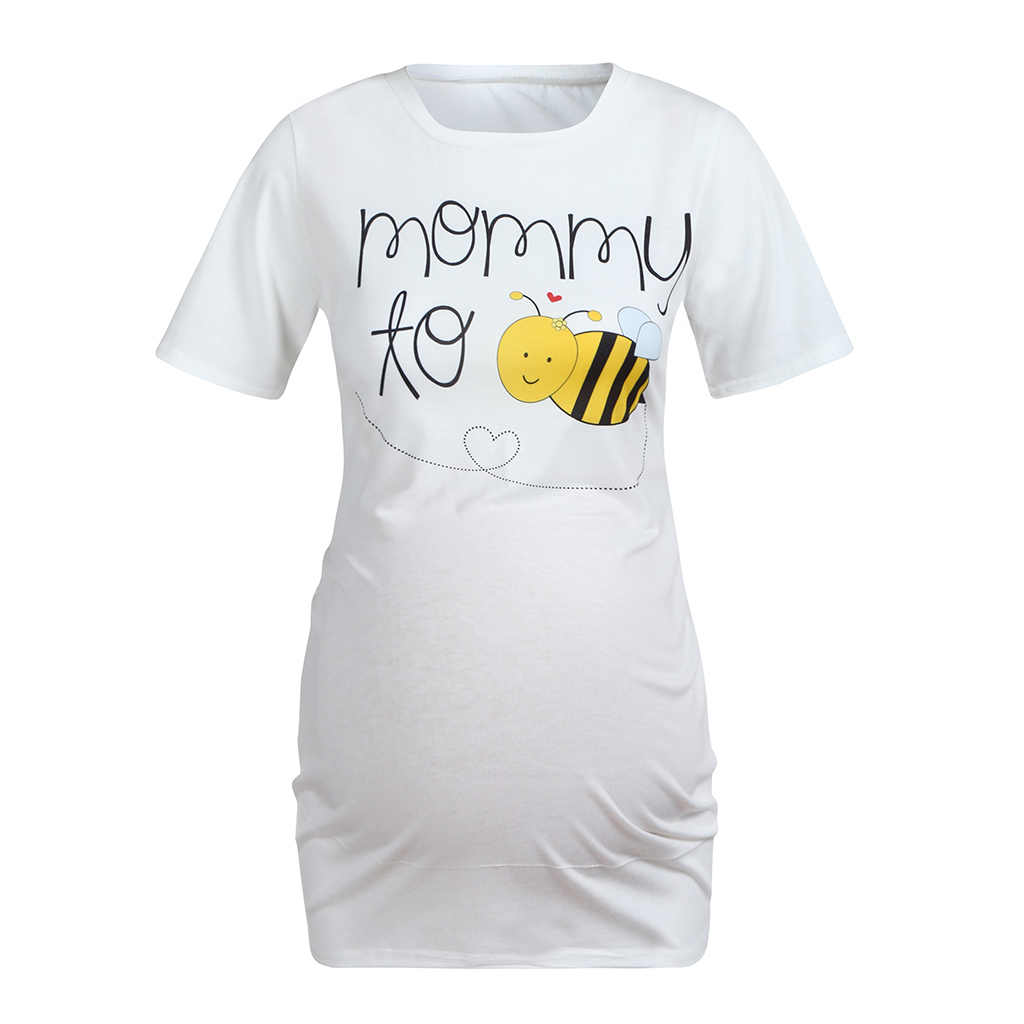 Новые Топы для беременных женщин для кормящих мам, мягкая хлопковая длинная футболка с милой Пчелкой для мам, горячая распродажа
