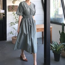 Female Elastic Waist Summer Dress Women Plus Size Pleated Vintage Vestidos