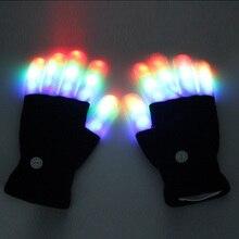 LED Flashing Magic Gloves for Kid Adult Glow In The Dark Light Up Finger Tip Lighting Toys for Children Novelty Christmas Goods