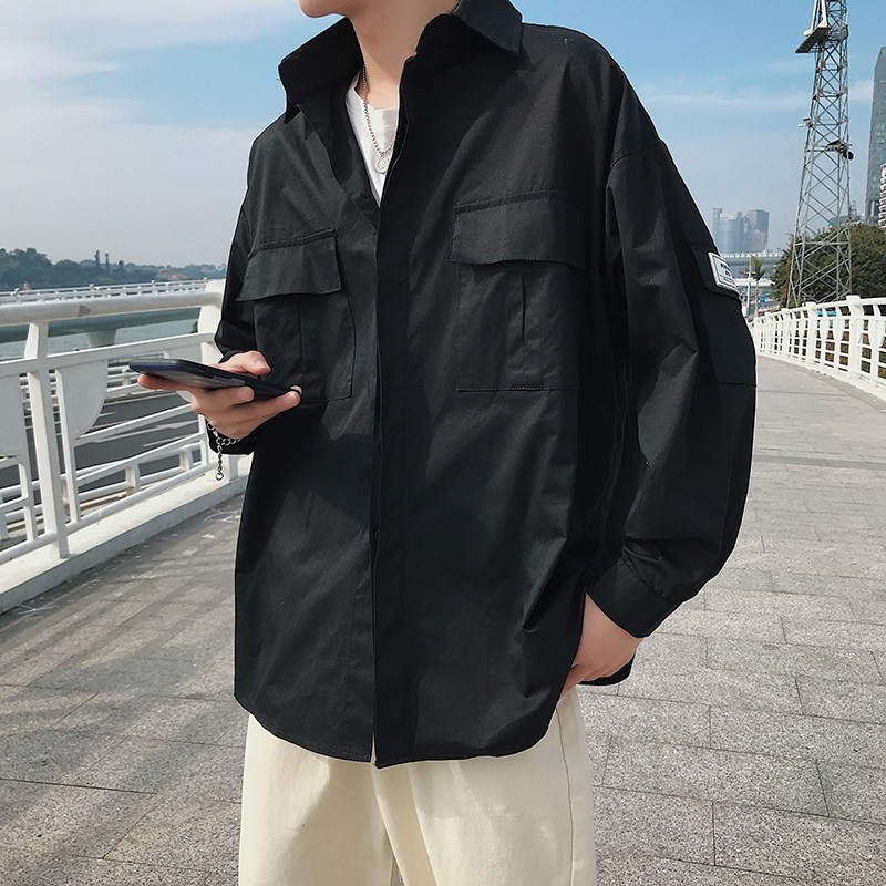 2019 Spring New Hong Wind Pocket Fashion streetwear Work Clothes Men 39 s Long Sleeve Shirt Easy Japanese Male Black Free shipping in Casual Shirts from Men 39 s Clothing