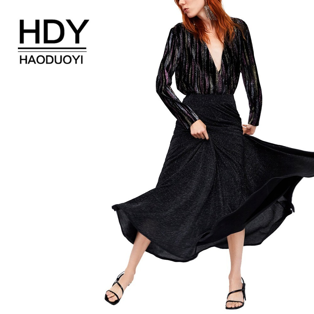 HDY Haoduoyi 2019 New Spring Women Temperament A-shaped Pleated Shiny Half-length Skirt