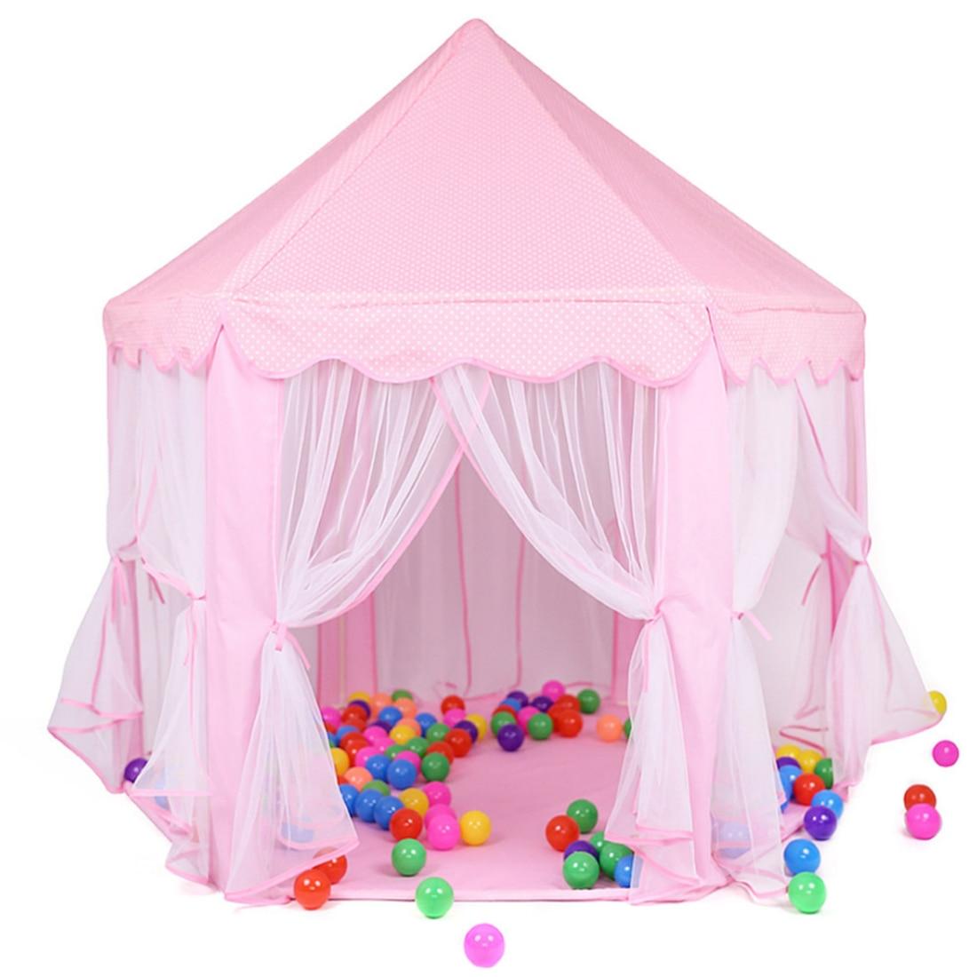 Intérieur et Extérieur Tulle Hex Jeu Tente Château maison de jeu tente pour enfants Jouant Au Billard Balle Playhouse-Rose