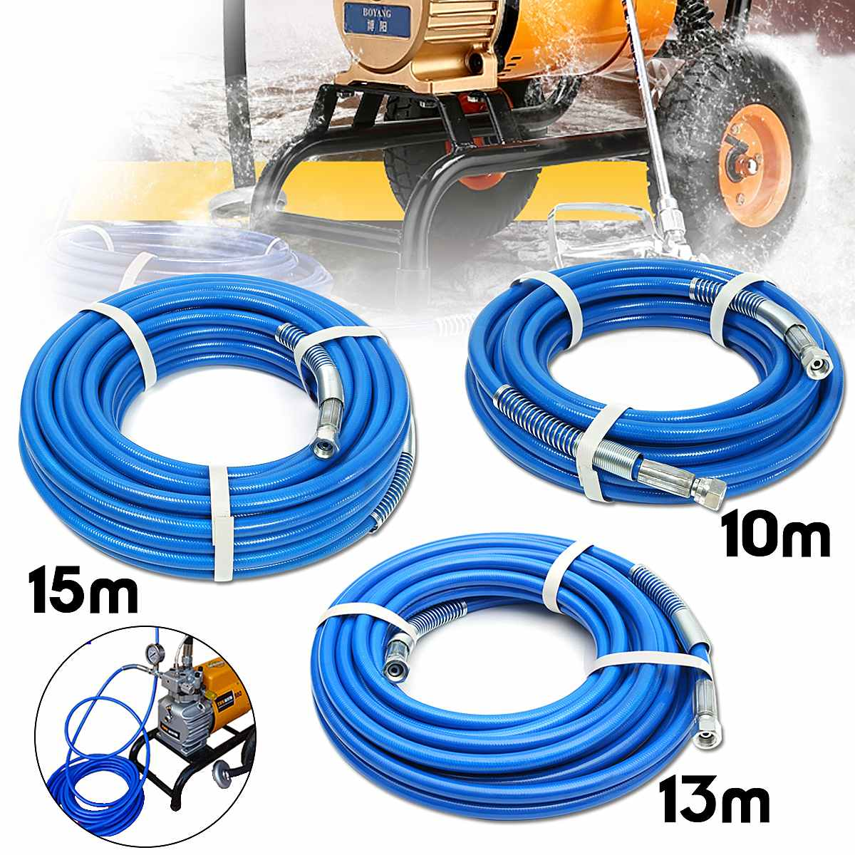 10/13/15m Spray Hose Airless Hose 5000PSI High Pressure Pipe Airless Sprayer Airless Paint Hose For Sprayer Gun Sprayer Water