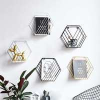Ins Nordic Metal Sundries Holder Wall Hanging Shelf Rack Bookshelf Storage Hexagon Geometric Organizer for Home Decor Tool