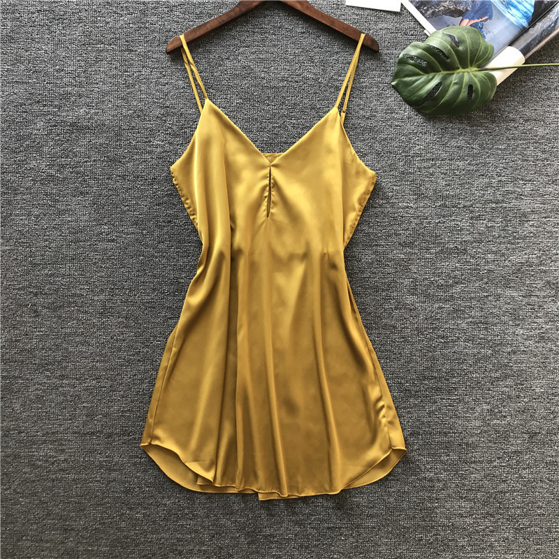 New Pattern Spring Spring Women Nightdress Spaghetti Strap Camisole Woman Sexy Lingerie Imitate Real Silk Night Skirt