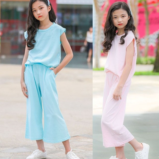 30595323f93 Cotton Linen Teenage Girls Clothing Summer Sets 2019 Girls Clothes Size 12  And 14 16 8 6 12 Year Sports Suits T Shirts Pants
