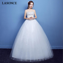 LASONCE Sequined Strapless Crystal Ball Gown Wedding Dresses Off The Shoulder Backless Lace Appliques Bridal Gowns
