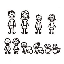 New Car Sticker Family Member Pet Personality Creativity Cute Reflective Simple Lines Styling Accessories Random Color