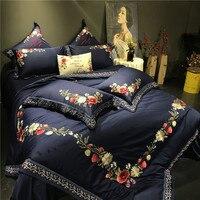 Queen King size благородный роскошный Египетский хлопок постельные принадлежности из шелка комплект с вышивкой в китайском стиле цветочный подод