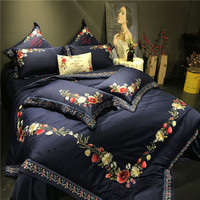 Queen King size Noble Luxury Egyptian cotton Silky Bedding set Chinese Embroidery Floral Duvet cover Bedsheet set Pillowcase38