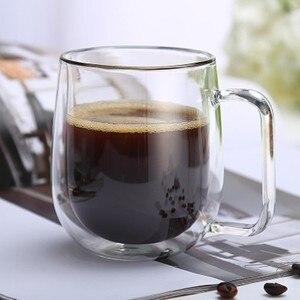 Image 2 - 80 450ml עמיד בחום כפול קיר זכוכית כוס בירה קפה לב כוסות בעבודת יד בריא כוס ספל תה ספלים שקוף Drinkware