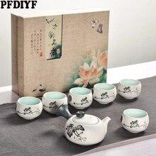 7 pcs 귀여운 수 놓은 새 차 세트 크리 에이 티브 쿵푸 주전자 컵 세트 일본 스타일 두꺼운 도자기 teaware 선물로