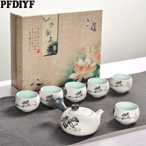 Image 1 - 7Pcs Cute Embroidered Bird Tea Set Creative Kung Ku Teapot Cup Set Japanese Style Thick Pottery Teaware As Gifts