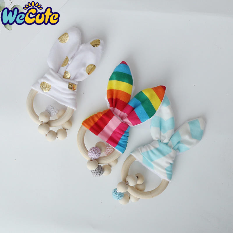 Wecute Hand Soft Little Rabbit Ear Baby Toy Wooden Grasp Toy Rattles Develop Baby Intelligence Baby Grasping Toy Hand Bell