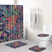 Trend Colorful 4pcs African Shower Curtain Elephant Bathroom Carpet 3D Bath Mats In Toilet Rug Set Fleece Blanket for Home Decor
