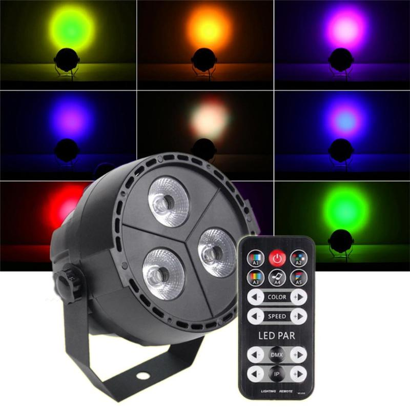 Voice activated RC 3 LED Par Light 4 in 1 Full color Background Lamp KTV Stage Light Family Festive Entertainment Stage Light