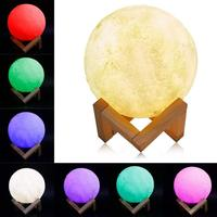 15CM Moon Lamp 16 Colors 3D LED Moon Night Light with Remote & Touch Control USB Rechargeable for Creative Gift