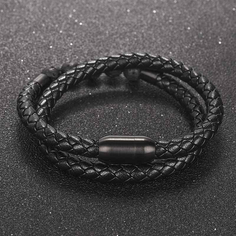 Jiayiqi хип-хоп кожаный браслет для мужчин и женщин 8 мм натуральный камень браслет из бусин нержавеющая сталь Megnetic застежка Ювелирная подарок