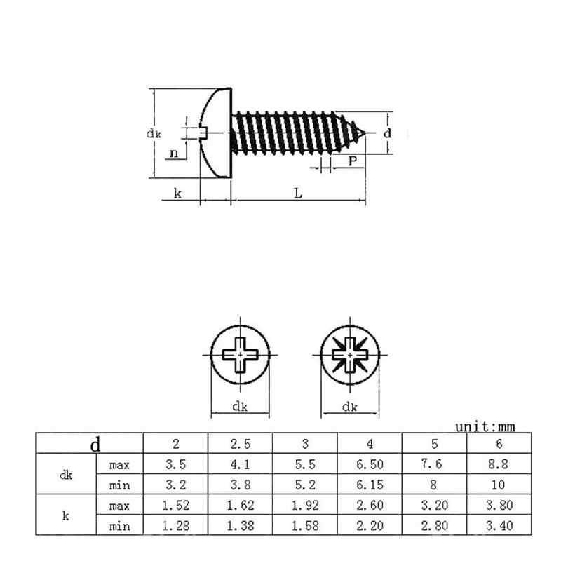 100 шт. M3 5/6/8/10/12/16/18/20/25/30 мм цинковый Сталь Винт с цилиндрической скругленной головкой саморез винты
