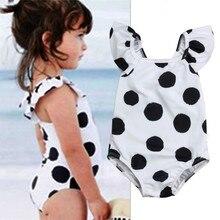 От 1 до 7 лет, детский купальник в горошек для маленьких девочек, летний купальный костюм для малышей, цельный купальный костюм, детская одежда для девочек ребенок, пляжная одежда