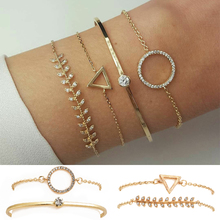 Triangle Adjustable Open Wedding Fashion Jewelry 4PCS/Set Circle Unique Crystal Leaf Chain Gold Bracelet Set Gifts