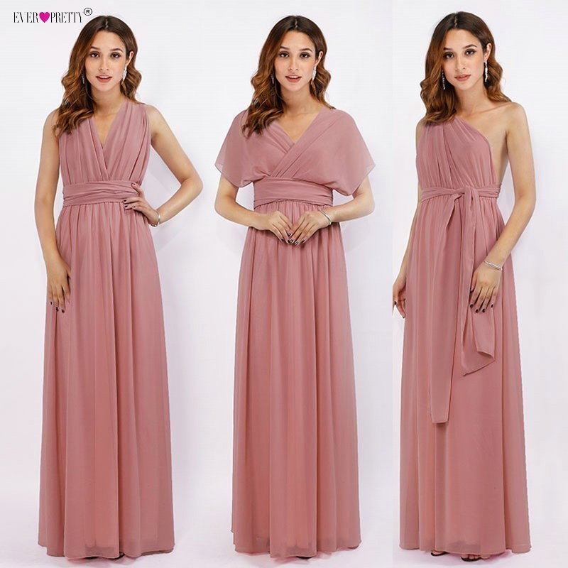 Long Bridesmaid Dresses Chiffon Ever Pretty Multiway Wrap Convertible Wedding Party Guest Gowns Robe Demoiselle D'honneur Rouge
