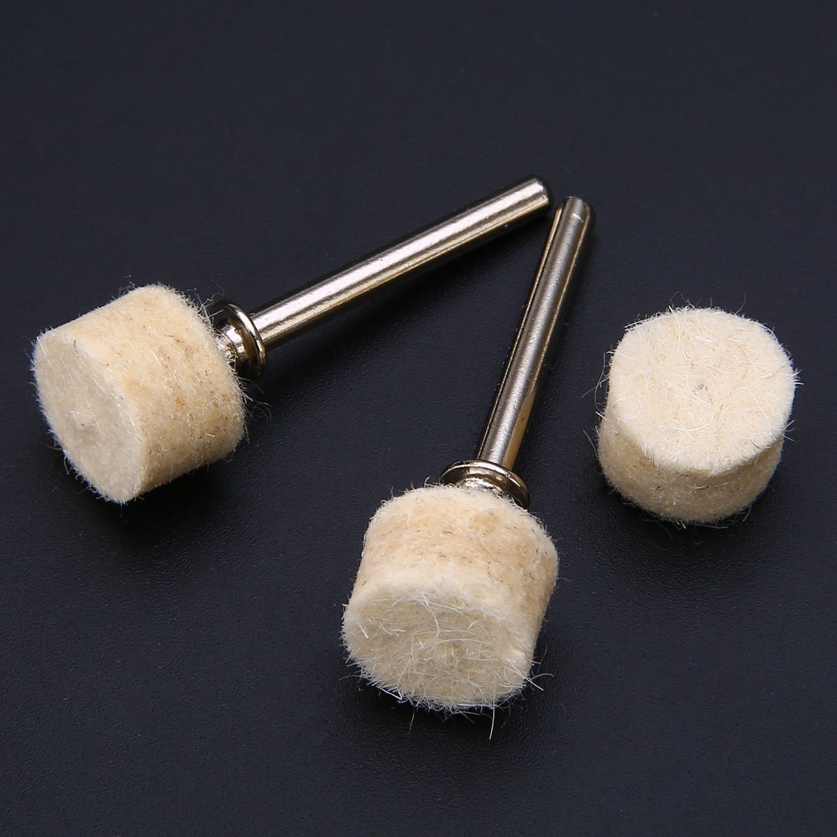 100pcs 13mm Wool Felt Polishing Wheels Buffing Grinding Pad With 2 Shanks For Abrasive Rotary Tool