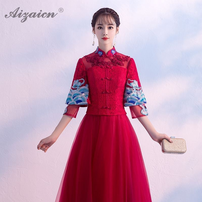 Traditional Chinese Wedding Dress Red Qipao Long Vestido Oriental Lace Cheongsam Women Embroidery Vintage Dresses Bride Qi Pao in Cheongsams from Novelty Special Use