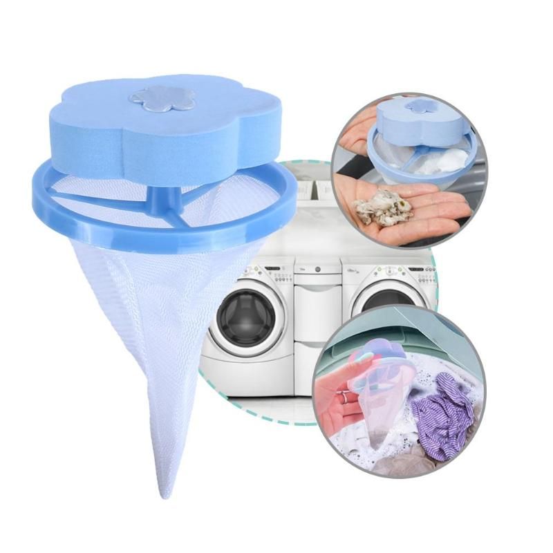 1PC Flower Washing Machine Hair Removal Clean Net Bag Floating Filter Pouch For Washing Machine