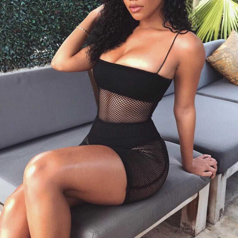 85c2e5b39c ... Women Sexy Summer Bikini Set Cover up Sleeveless Fishnet Dress Black  White Beachwear Strap Swimwear ...