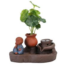 The Little Monk Backflow Incense Burner Smoke Waterfall Holder Retro Ceramic Censer Home Office Craft Decor