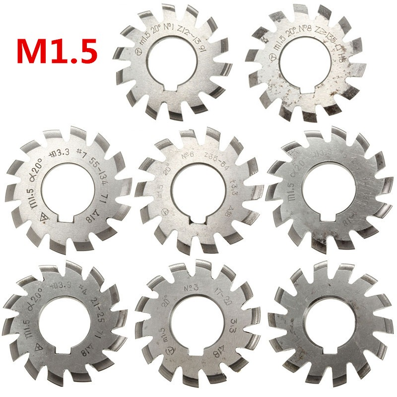 Module 1.5 M1.5 PA20 Degrees Bore 22mm #1-8 HSS Involute Gear Milling Cutter High Speed Steel Milling Cutter Gear Cutting Tools